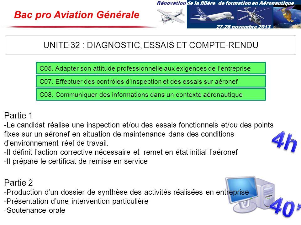 Rénovation de la filière de formation en Aéronautique 27-28 novembre 2013 UNITE 32 : DIAGNOSTIC, ESSAIS ET COMPTE-RENDU C05. Adapter son attitude prof