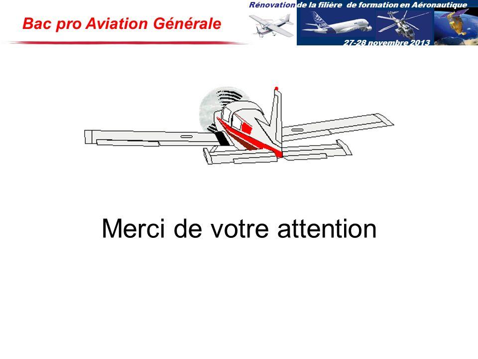 Rénovation de la filière de formation en Aéronautique 27-28 novembre 2013 Bac pro Aviation Générale Merci de votre attention