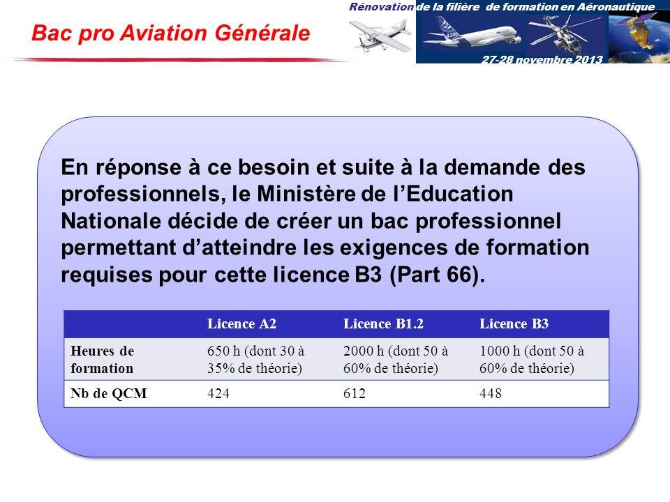 Rénovation de la filière de formation en Aéronautique 27-28 novembre 2013 Bac pro Aviation Générale En réponse à ce besoin et suite à la demande des p