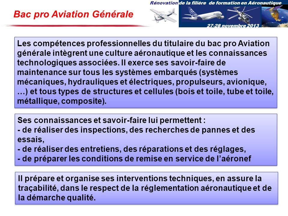 Rénovation de la filière de formation en Aéronautique 27-28 novembre 2013 Bac pro Aviation Générale Les compétences professionnelles du titulaire du b