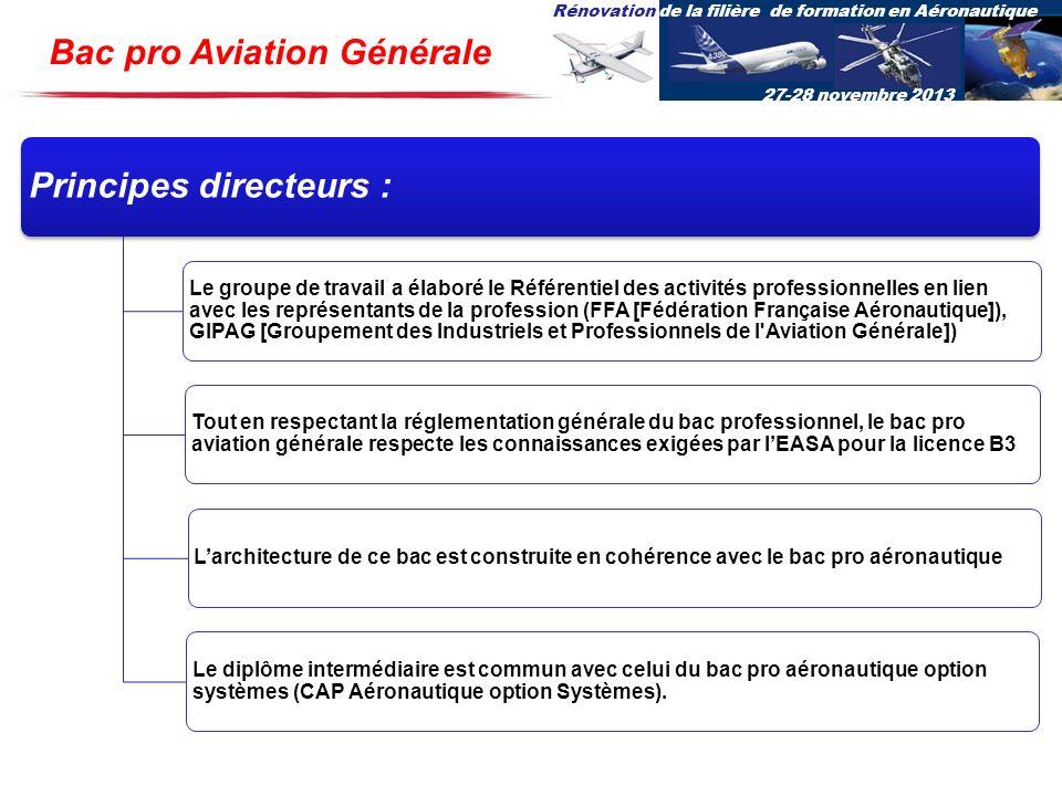 Rénovation de la filière de formation en Aéronautique 27-28 novembre 2013 Bac pro Aviation Générale Principes directeurs : Le groupe de travail a élab