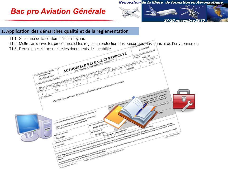 Rénovation de la filière de formation en Aéronautique 27-28 novembre 2013 1. Application des démarches qualité et de la réglementation T1.1. Sassurer