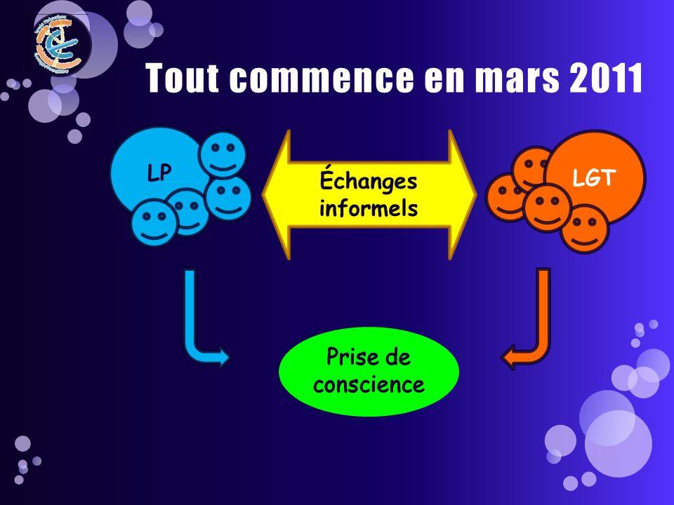 LP Tout commence en mars 2011 LGT Échanges informels