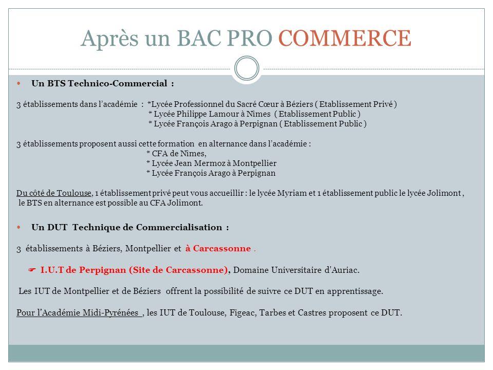 Après un BAC PRO COMMERCE Un BTS Technico-Commercial : 3 établissements dans lacadémie : *Lycée Professionnel du Sacré Cœur à Béziers ( Etablissement