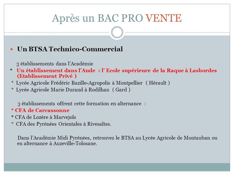 Après un BAC PRO VENTE Un BTSA Technico-Commercial 3 établissements dans lAcadémie * Un établissement dans lAude : l Ecole supérieure de la Raque à La