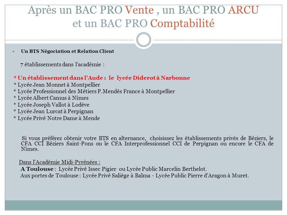 Après un BAC PRO Vente, un BAC PRO ARCU et un BAC PRO Comptabilité Un BTS Négociation et Relation Client 7 établissements dans lacadémie : * Un établi