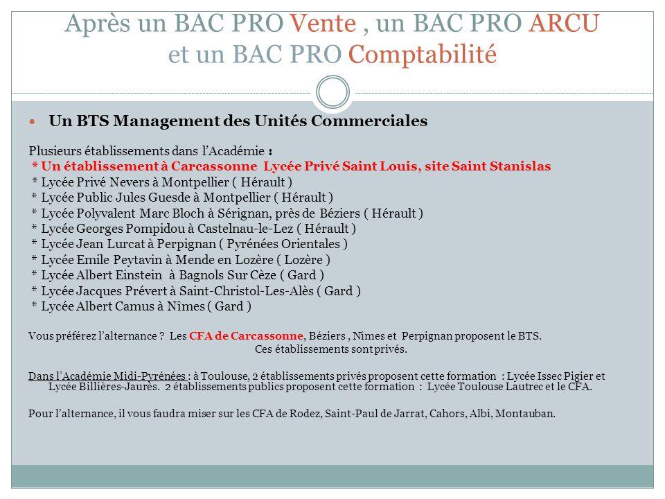 Après un BAC PRO Vente, un BAC PRO ARCU et un BAC PRO Comptabilité Un BTS Management des Unités Commerciales Plusieurs établissements dans lAcadémie :