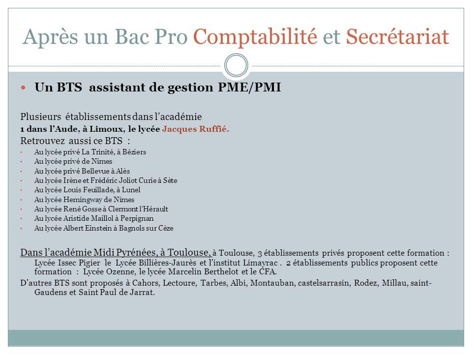 Après un Bac Pro Comptabilité et Secrétariat Un BTS assistant de gestion PME/PMI Plusieurs établissements dans lacadémie 1 dans lAude, à Limoux, le ly