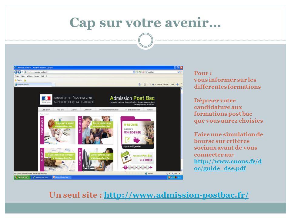 Cap sur votre avenir… Un seul site : http://www.admission-postbac.fr/http://www.admission-postbac.fr/ Pour : vous informer sur les différentes formati