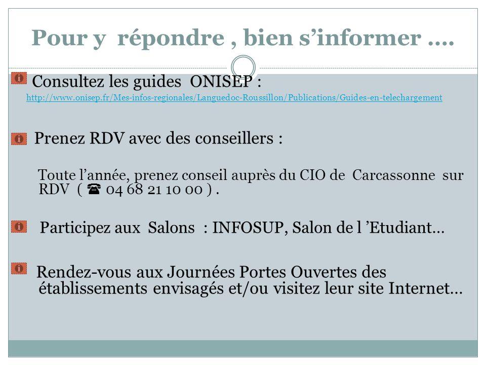 Pour y répondre, bien sinformer …. Consultez les guides ONISEP : http://www.onisep.fr/Mes-infos-regionales/Languedoc-Roussillon/Publications/Guides-en
