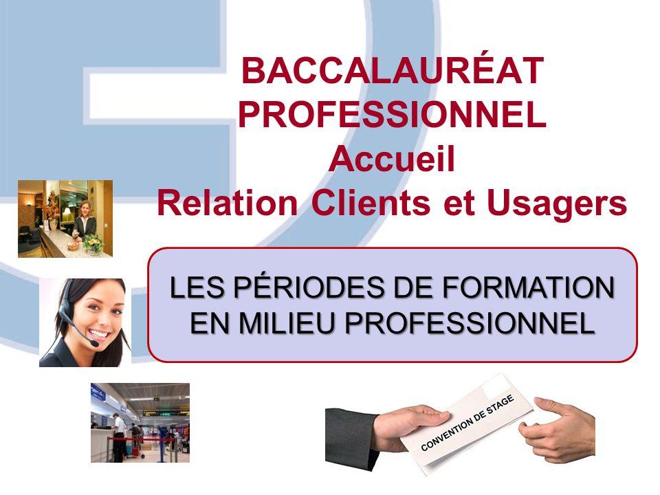 BACCALAURÉAT PROFESSIONNEL Accueil Relation Clients et Usagers LES PÉRIODES DE FORMATION EN MILIEU PROFESSIONNEL