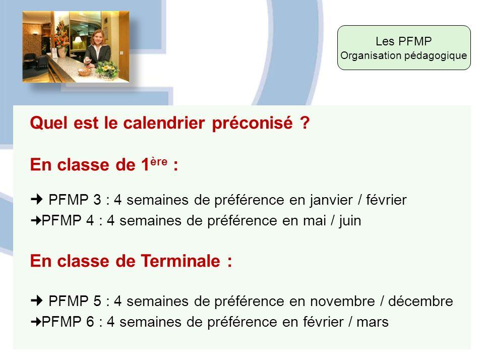 Les PFMP Organisation pédagogique Quel est le calendrier préconisé ? En classe de 1 ère : PFMP 3 : 4 semaines de préférence en janvier / février PFMP
