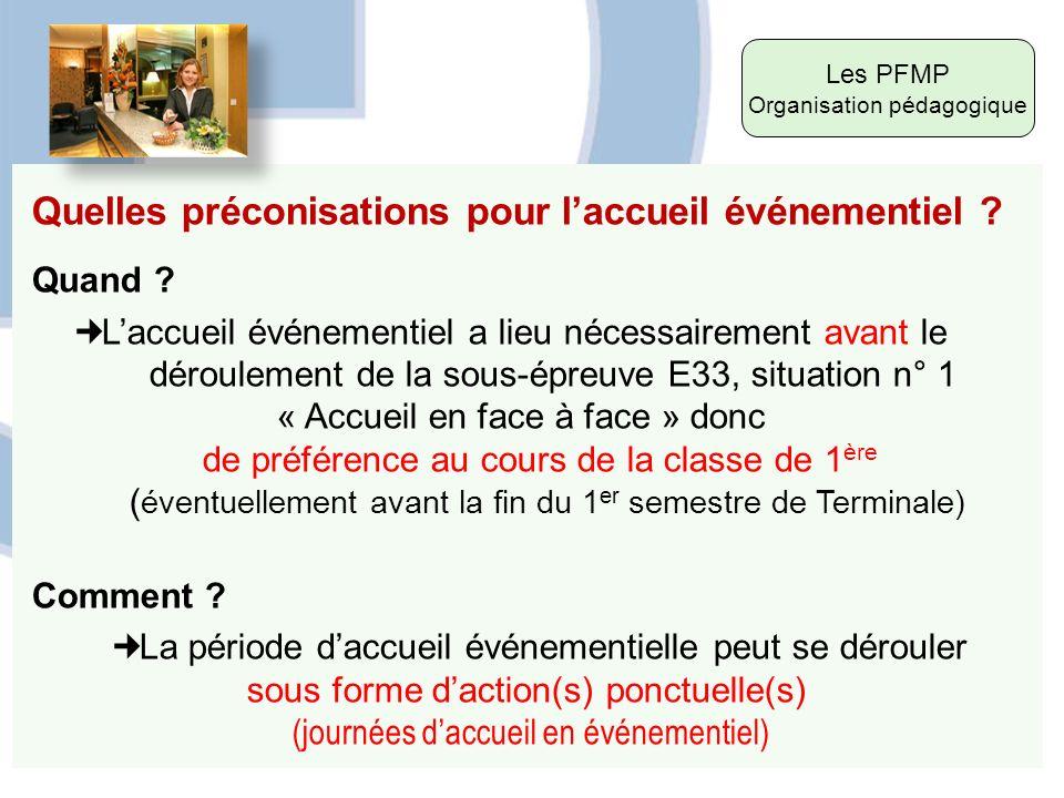 Les PFMP Organisation pédagogique Quelles préconisations pour laccueil événementiel ? Quand ? Laccueil événementiel a lieu nécessairement avant le dér