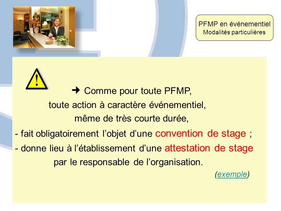 Comme pour toute PFMP, toute action à caractère événementiel, même de très courte durée, - fait obligatoirement lobjet dune convention de stage ; - do