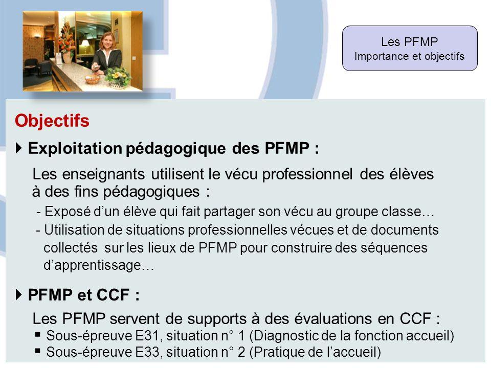 Les PFMP Importance et objectifs Objectifs Exploitation pédagogique des PFMP : Les enseignants utilisent le vécu professionnel des élèves à des fins p