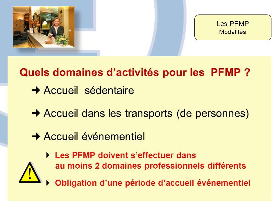 Quels domaines dactivités pour les PFMP ? Accueil sédentaire Accueil dans les transports (de personnes) Accueil événementiel Les PFMP Modalités Les PF