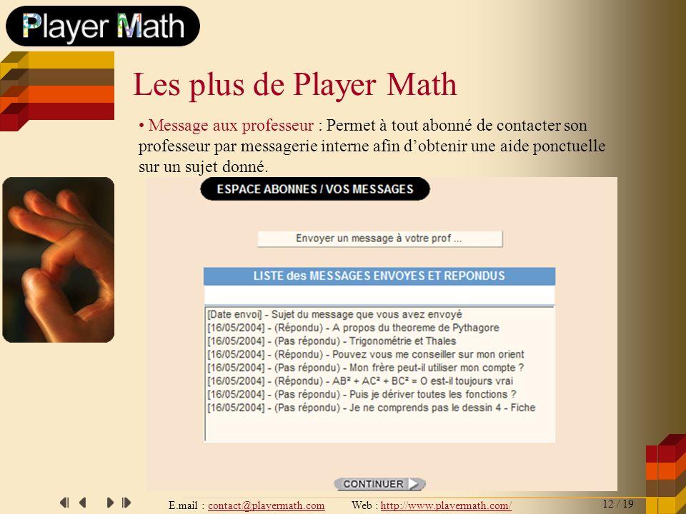 E.mail : contact@playermath.com Web : http://www.playermath.com/ Message aux professeur : Permet à tout abonné de contacter son professeur par message
