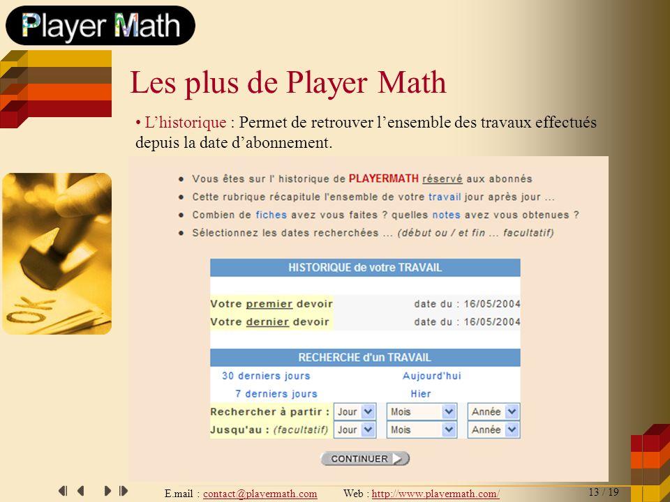 E.mail : contact@playermath.com Web : http://www.playermath.com/ Lhistorique : Permet de retrouver lensemble des travaux effectués depuis la date dabo