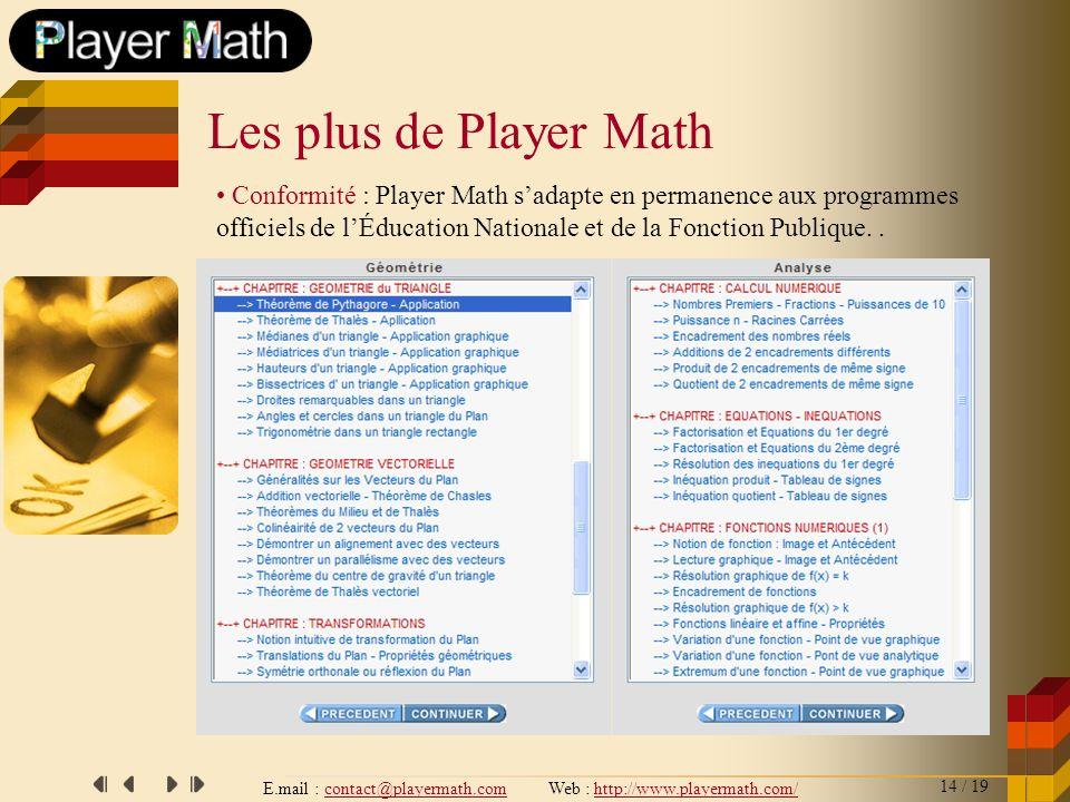 E.mail : contact@playermath.com Web : http://www.playermath.com/ Conformité : Player Math sadapte en permanence aux programmes officiels de lÉducation
