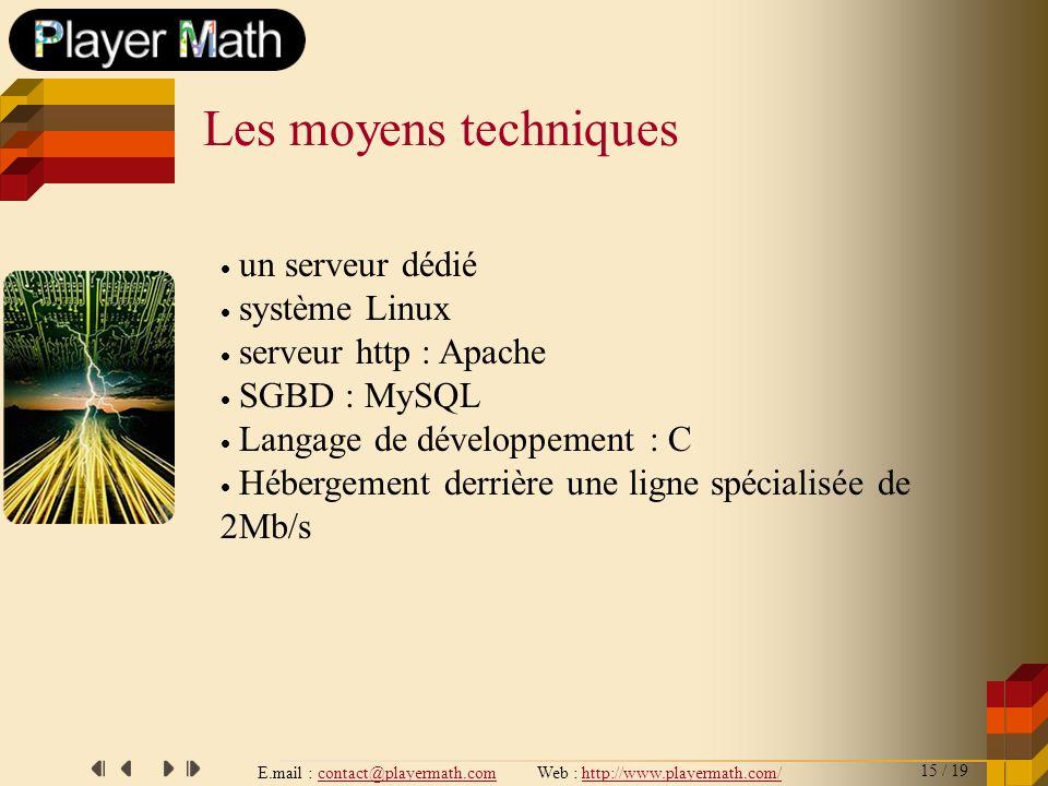 E.mail : contact@playermath.com Web : http://www.playermath.com/ Les moyens techniques un serveur dédié système Linux serveur http : Apache SGBD : MyS