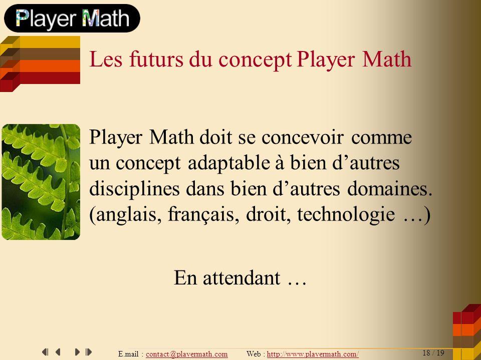 E.mail : contact@playermath.com Web : http://www.playermath.com/ Player Math doit se concevoir comme un concept adaptable à bien dautres disciplines d