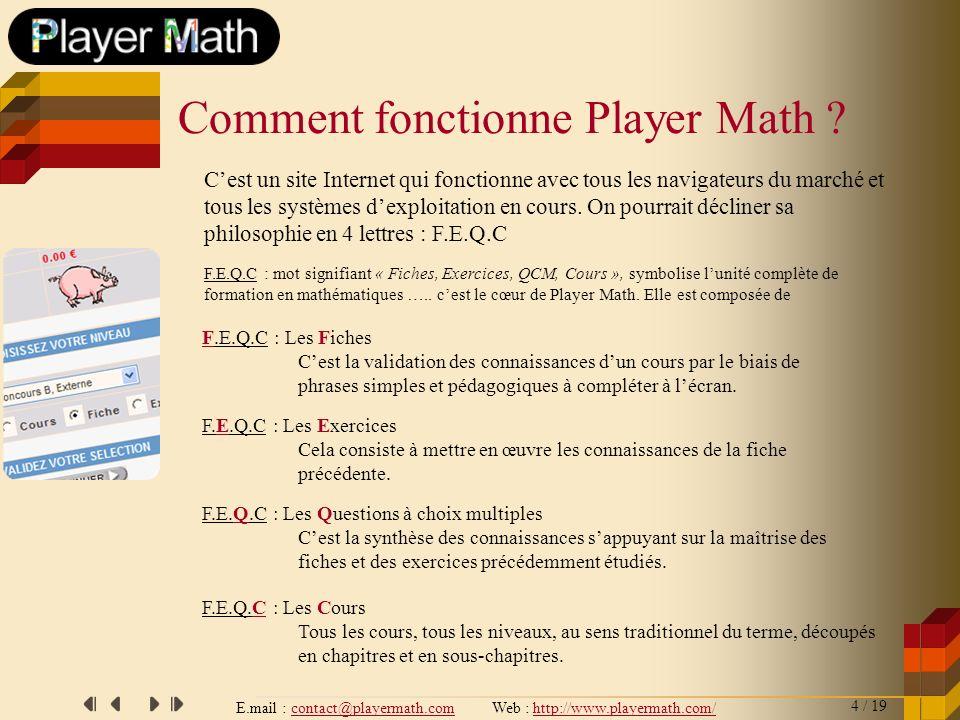 E.mail : contact@playermath.com Web : http://www.playermath.com/ F.E.Q.C : Les Fiches Cest la validation des connaissances dun cours par le biais de p