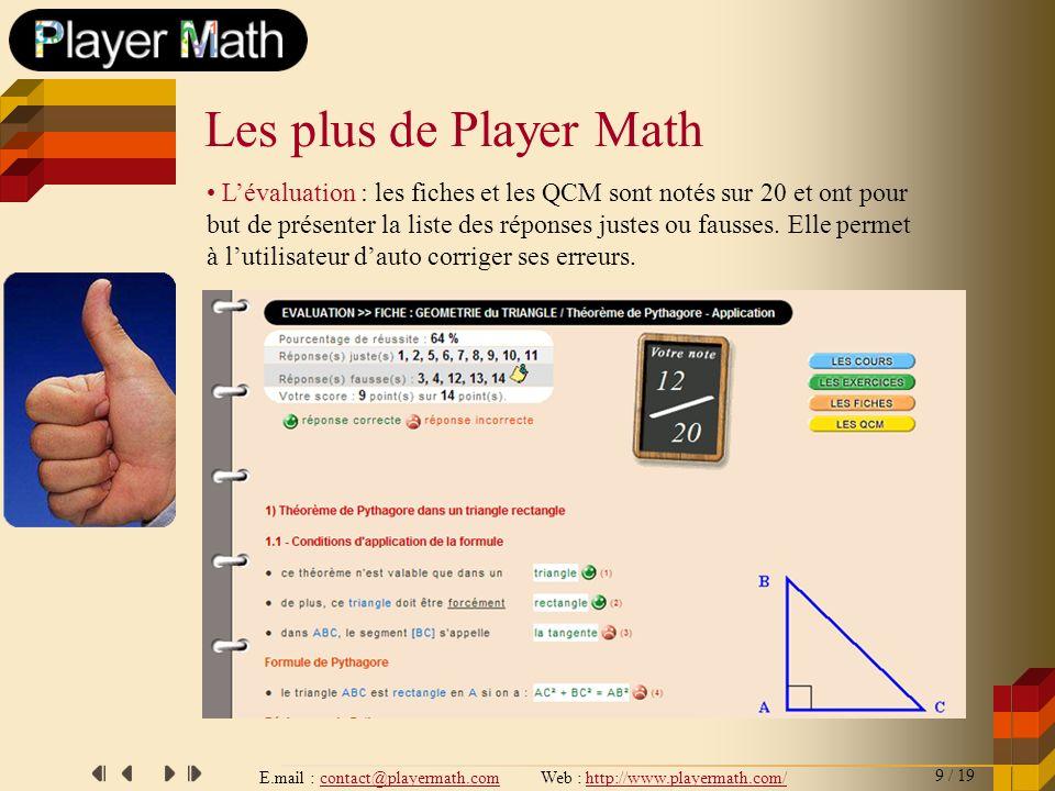 E.mail : contact@playermath.com Web : http://www.playermath.com/ Lévaluation : les fiches et les QCM sont notés sur 20 et ont pour but de présenter la