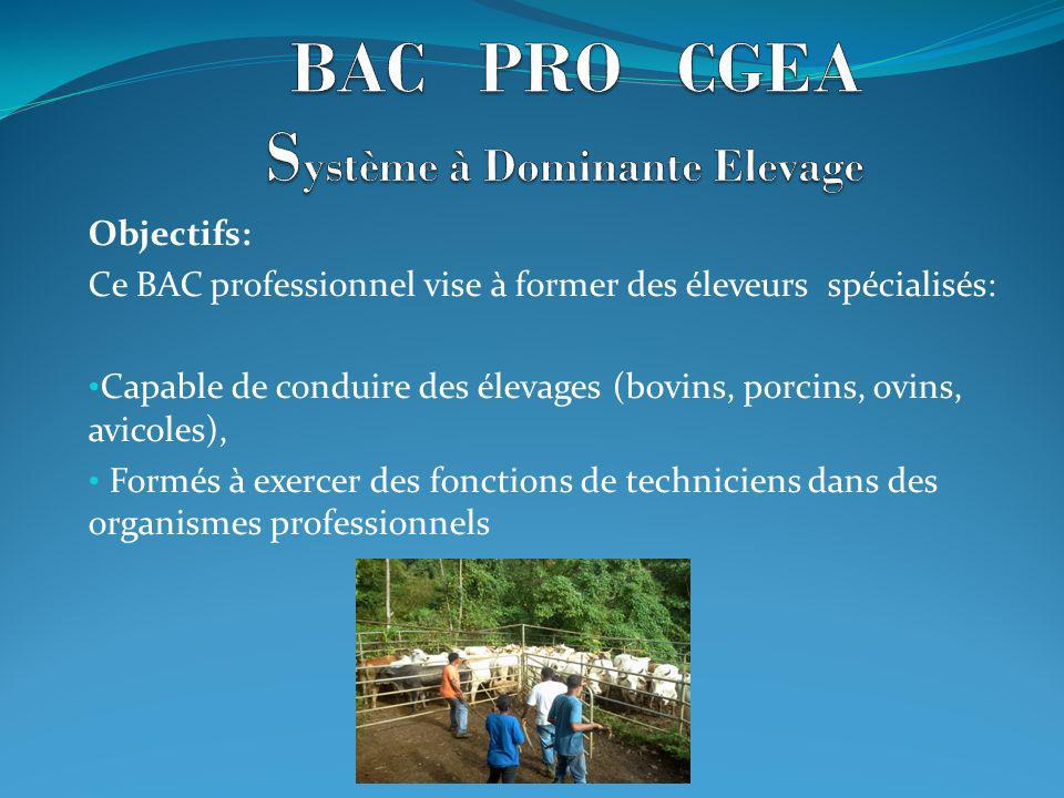 Objectifs: Ce BAC professionnel vise à former des éleveurs spécialisés: Capable de conduire des élevages (bovins, porcins, ovins, avicoles), Formés à