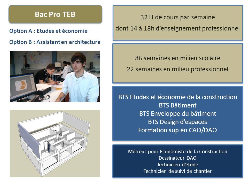 Bac Pro TEB Option A : Etudes et économie Option B : Assistant en architecture 32 H de cours par semaine dont 14 à 18h denseignement professionnel 32