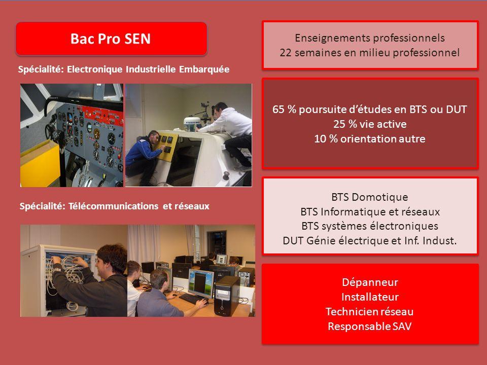 Bac Pro SEN Spécialité: Electronique Industrielle Embarquée Spécialité: Télécommunications et réseaux Enseignements professionnels 22 semaines en mili