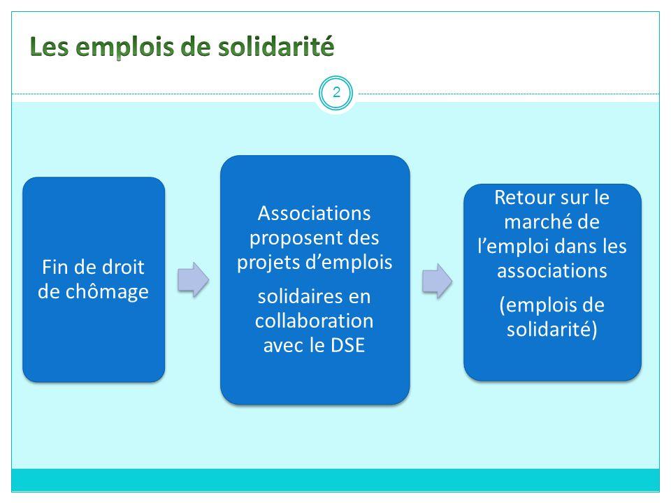 Fin de droit de chômage Associations proposent des projets demplois solidaires en collaboration avec le DSE Retour sur le marché de lemploi dans les a