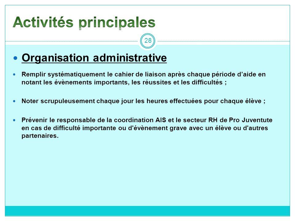 Organisation administrative Remplir systématiquement le cahier de liaison après chaque période daide en notant les évènements importants, les réussite