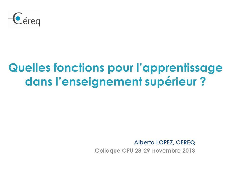 Quelles fonctions pour lapprentissage dans lenseignement supérieur ? Alberto LOPEZ, CEREQ Colloque CPU 28-29 novembre 2013