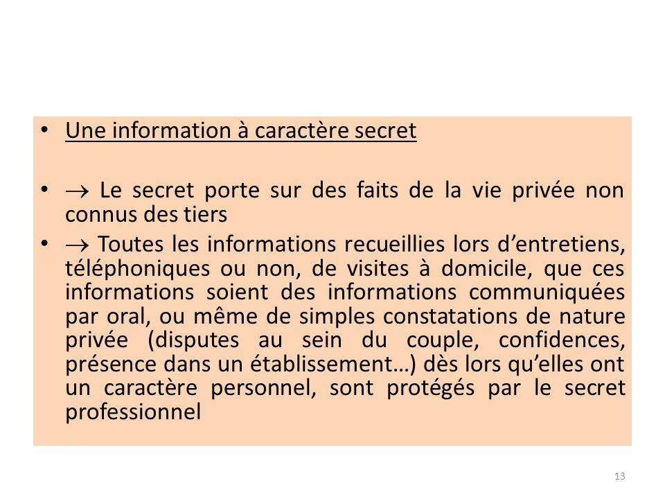 Une information à caractère secret Le secret porte sur des faits de la vie privée non connus des tiers Toutes les informations recueillies lors dentre