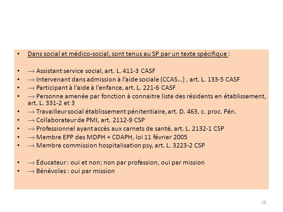 Dans social et médico-social, sont tenus au SP par un texte spécifique : Assistant service social, art. L. 411-3 CASF Intervenant dans admission à lai