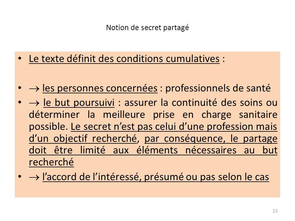 Notion de secret partagé Le texte définit des conditions cumulatives : les personnes concernées : professionnels de santé le but poursuivi : assurer l