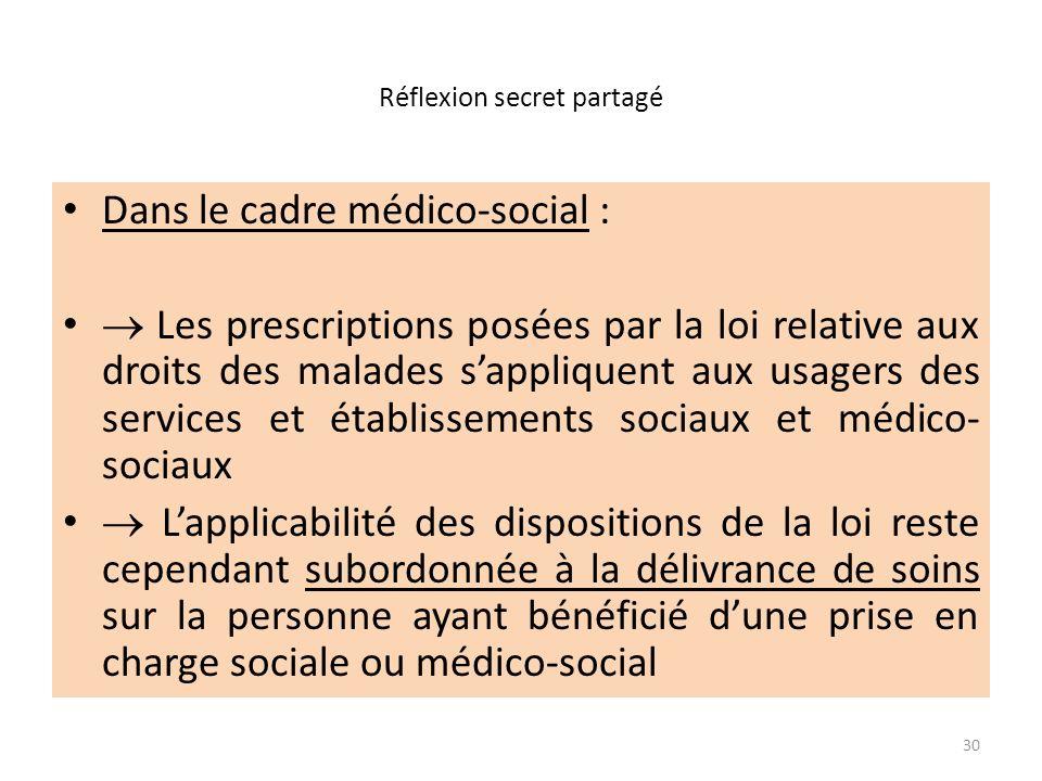 Réflexion secret partagé Dans le cadre médico-social : Les prescriptions posées par la loi relative aux droits des malades sappliquent aux usagers des