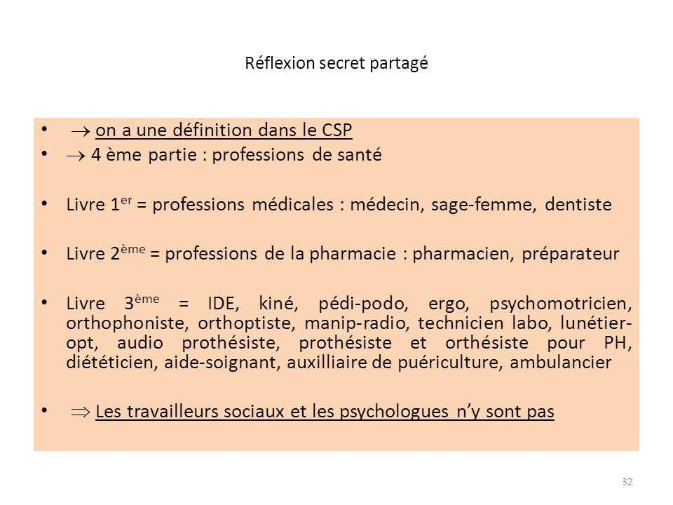Réflexion secret partagé on a une définition dans le CSP 4 ème partie : professions de santé Livre 1 er = professions médicales : médecin, sage-femme, dentiste Livre 2 ème = professions de la pharmacie : pharmacien, préparateur Livre 3 ème = IDE, kiné, pédi-podo, ergo, psychomotricien, orthophoniste, orthoptiste, manip-radio, technicien labo, lunétier- opt, audio prothésiste, prothésiste et orthésiste pour PH, diététicien, aide-soignant, auxilliaire de puériculture, ambulancier Les travailleurs sociaux et les psychologues ny sont pas 32