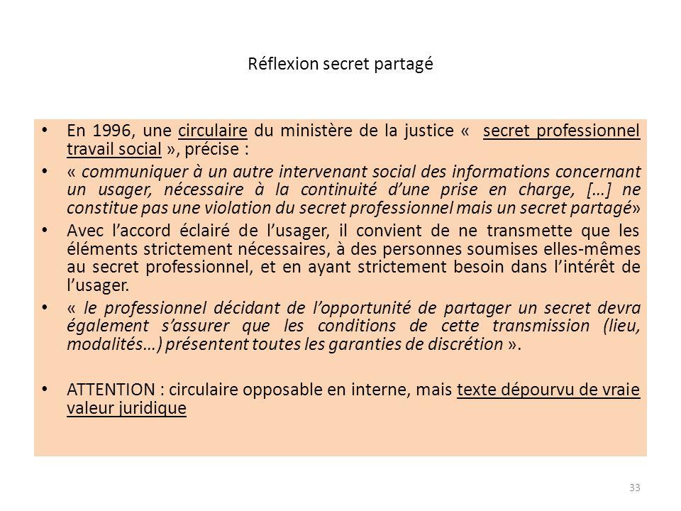 Réflexion secret partagé En 1996, une circulaire du ministère de la justice « secret professionnel travail social », précise : « communiquer à un autr