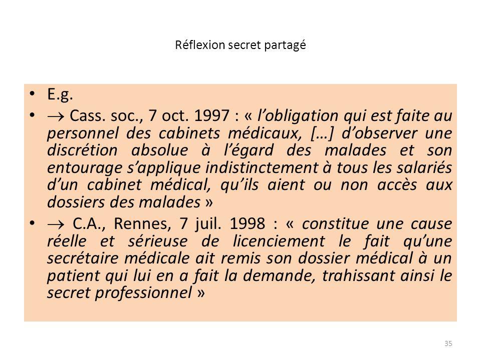 Réflexion secret partagé E.g. Cass. soc., 7 oct. 1997 : « lobligation qui est faite au personnel des cabinets médicaux, […] dobserver une discrétion a