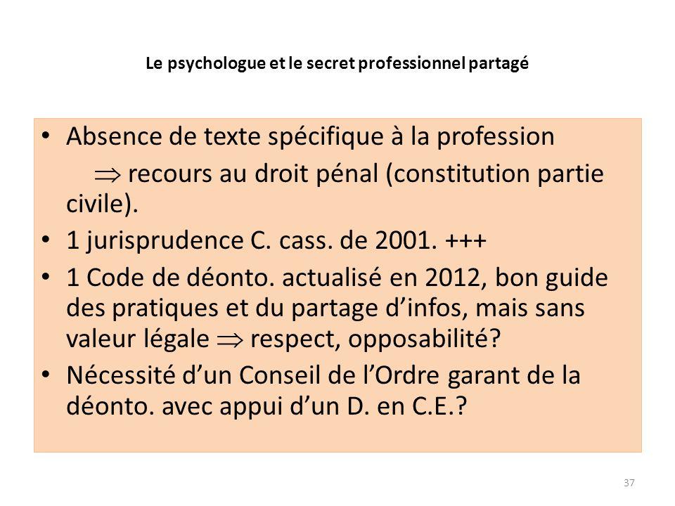 Le psychologue et le secret professionnel partagé Absence de texte spécifique à la profession recours au droit pénal (constitution partie civile). 1 j