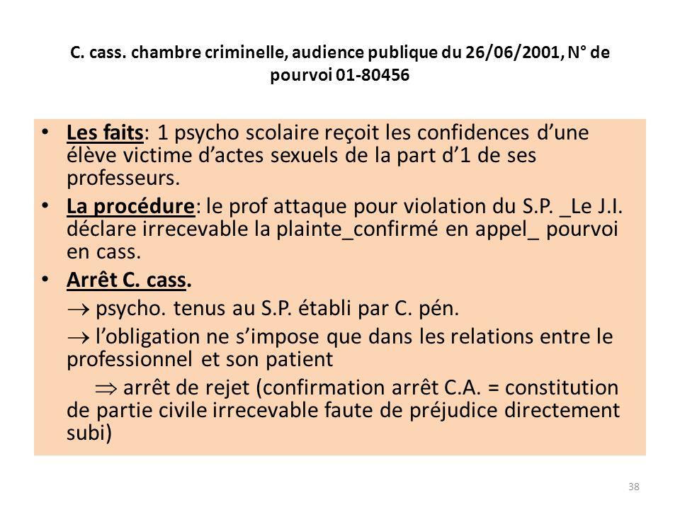 C. cass. chambre criminelle, audience publique du 26/06/2001, N° de pourvoi 01-80456 Les faits: 1 psycho scolaire reçoit les confidences dune élève vi