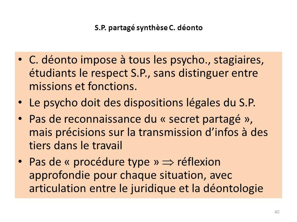 S.P. partagé synthèse C. déonto C. déonto impose à tous les psycho., stagiaires, étudiants le respect S.P., sans distinguer entre missions et fonction