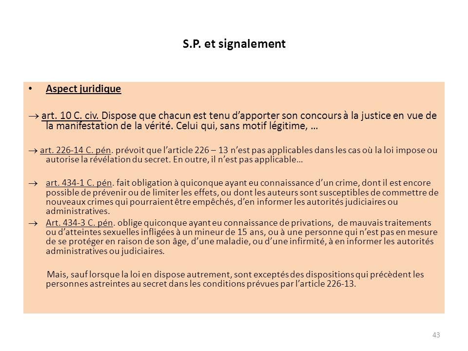 S.P. et signalement Aspect juridique art. 10 C. civ. Dispose que chacun est tenu dapporter son concours à la justice en vue de la manifestation de la