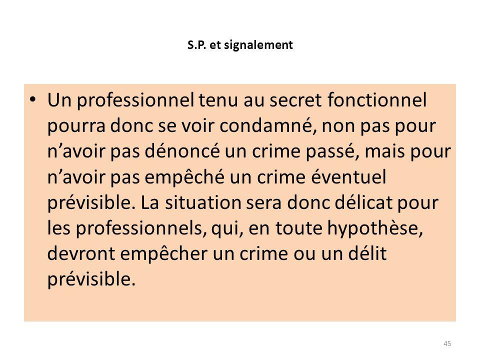 S.P. et signalement Un professionnel tenu au secret fonctionnel pourra donc se voir condamné, non pas pour navoir pas dénoncé un crime passé, mais pou