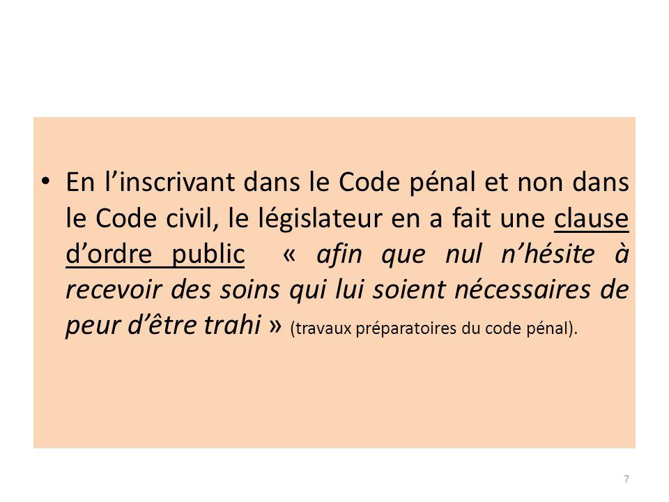 En linscrivant dans le Code pénal et non dans le Code civil, le législateur en a fait une clause dordre public « afin que nul nhésite à recevoir des s