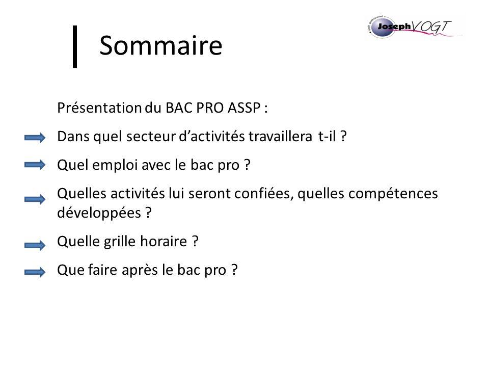 Sommaire Présentation du BAC PRO ASSP : Dans quel secteur dactivités travaillera t-il ? Quel emploi avec le bac pro ? Quelles activités lui seront con