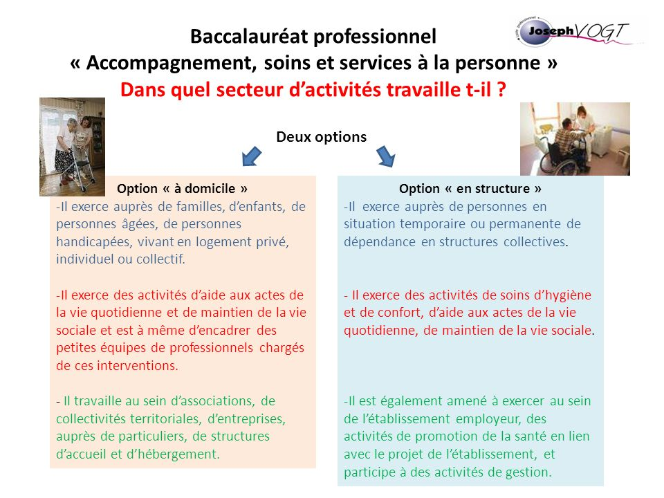 Baccalauréat professionnel « Accompagnement, soins et services à la personne » Dans quel secteur dactivités travaille t-il ? Deux options Option « à d