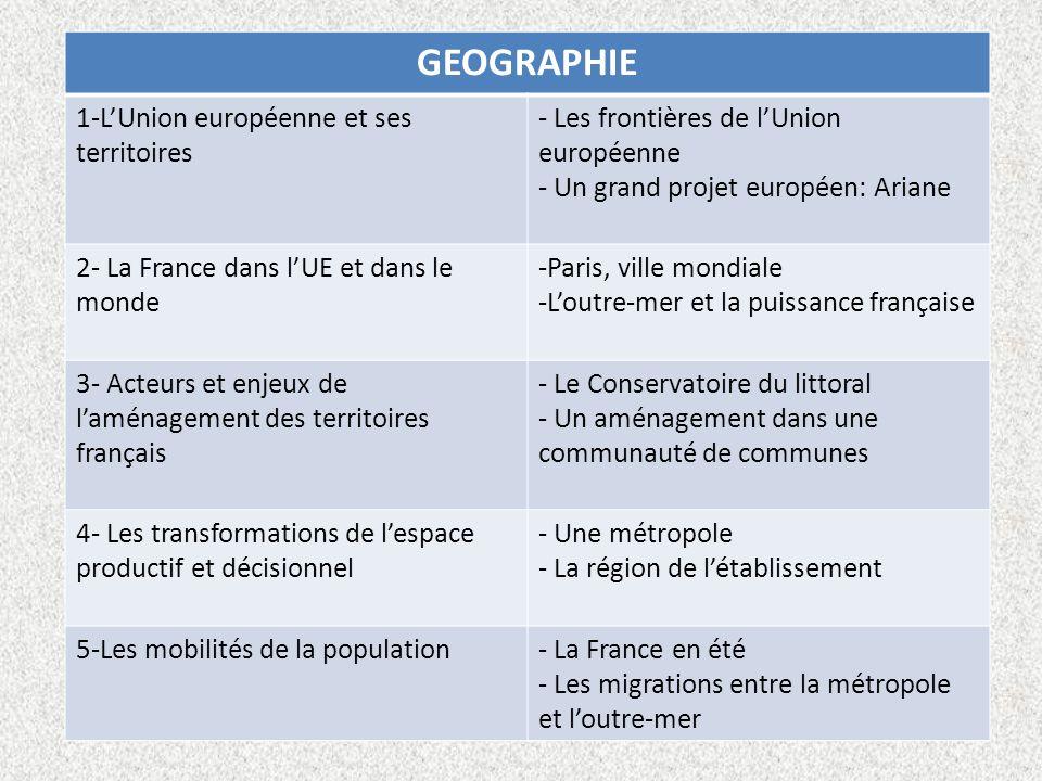 GEOGRAPHIE 1-LUnion européenne et ses territoires - Les frontières de lUnion européenne - Un grand projet européen: Ariane 2- La France dans lUE et da
