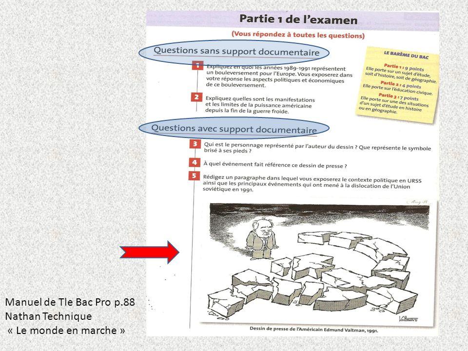 Manuel de Tle Bac Pro p.88 Nathan Technique « Le monde en marche »